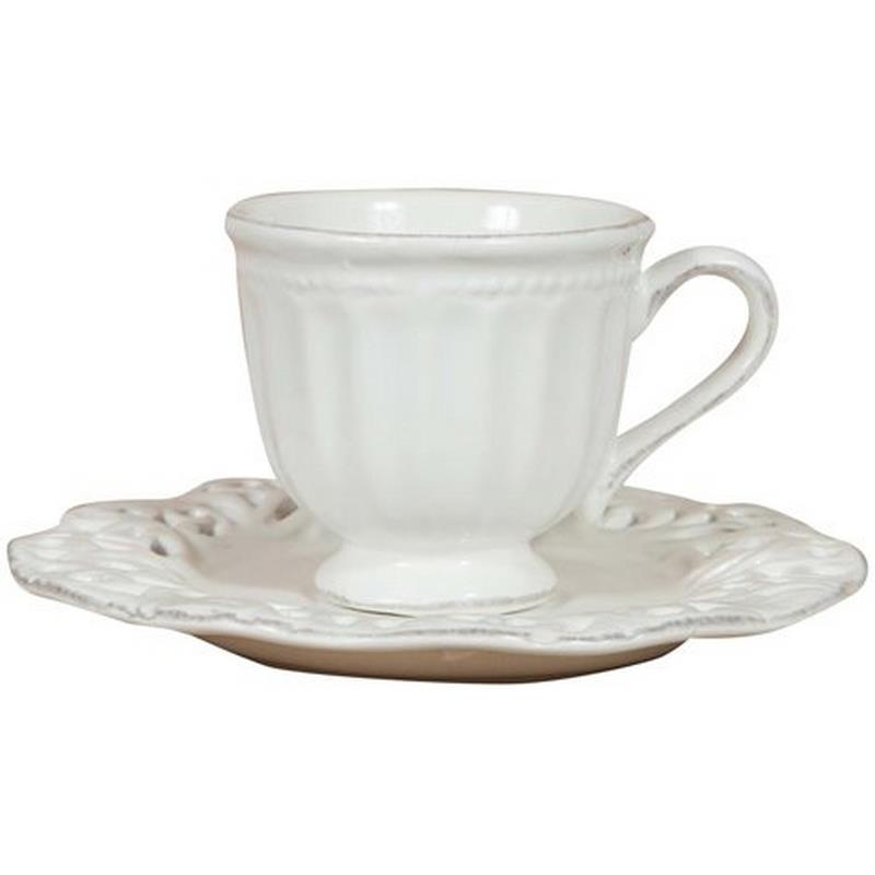 Tazza con piattino in porcellana bianca Shabby C0781